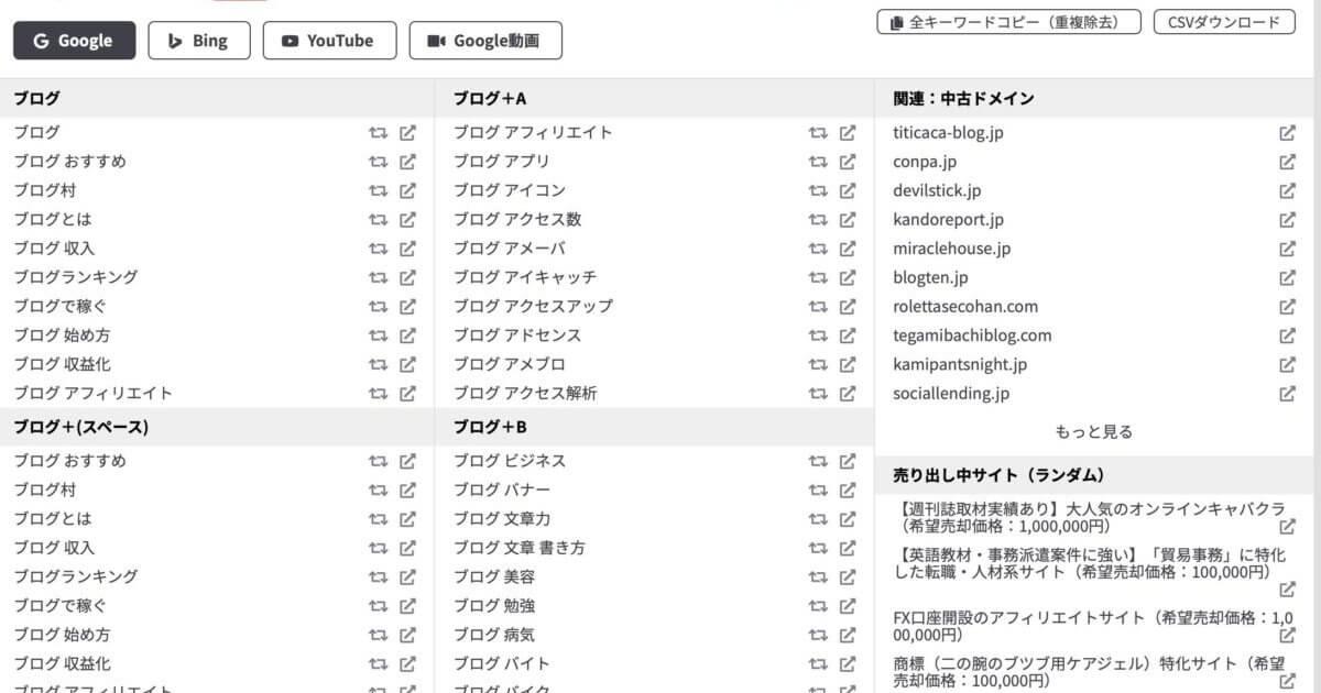 ラッコキーワードで「ブログ」で検索した結果