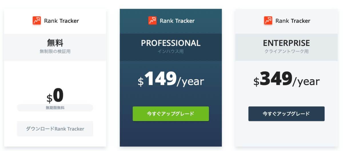 SEO ranktracker のプランと料金